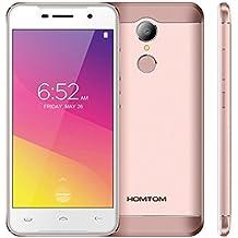 "HOMTOM HT37 Android 6.0, 3G 5.0"" HD pulgadas pantalla, desbloqueado Dual-SIM Smartphone, Altavoces dobles&Luces de respiración, Quad Core 8.0MP + 2.0MP Cámara Huella digital 4K Vídeo 32G Memoria,2 GB RAM + 16 GB ROM UE enchufe (Oro Rosa)"