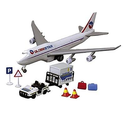 Dickie Toys 203343002 - Airport Team, Flugzeug mit Rollfeldfahrzeug und Zubehör von Dickie-Spielzeug