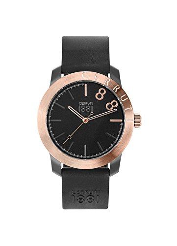 Reloj hombre–CERRUTI 1881–lago negro–Reloj Rosé Dorado–Pulsera Silicona Negro–cra154sur02bk
