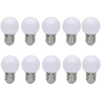 10X E27 Bombilla Blanco 1W Bombilla de Color Ahorro de Energía Color Bombilla LED 100LM Conveniente