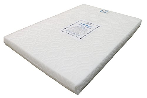 LAURA Extra Thick 95x65cm Travel Cot Mattress 7cm Thick So More Comfy : Reversible : BRITISH MADE With High Grade Density Foam CMHR28 Test