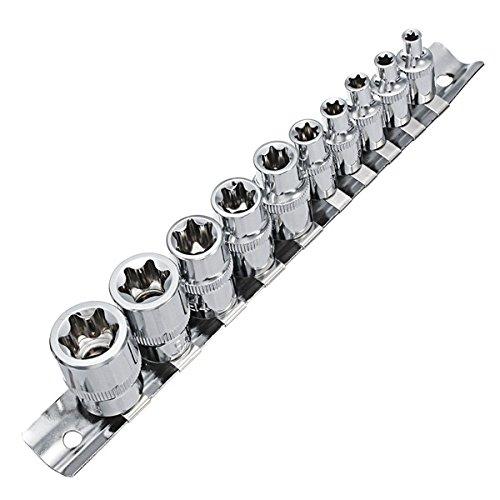 Praktisch und praktisch E-Steckschlüssel, 10Pcs E4-E18 Steckschlüssel-Satz 1/4 3/8 Zoll-Laufwerk Größe E Steckschlüssel mit Storage Rail
