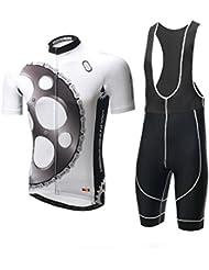 XINTOWN Hombre Deporte al aire libre Ciclismo Bicicleta manga corta correa multicolor más tamaño Nylon Mesh poliéster Breath secado rápido ropa Set, color Schwarz Wei?, tamaño XXXL