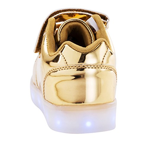 AFFINEST Led Chaussures de sport LED lumineux de charge USB Enfants garçons Filles Cadeau golden