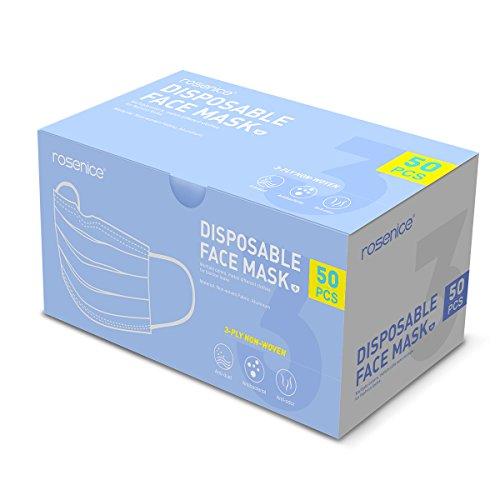 Healifty medizinische Masken ROSENICE 50 Stück Einweg Gesichtsmasken 3 PLY Vliesstoff Staub Bakterien Filter Earloop Masken für Dental Surgical Medical Kommerziellen für