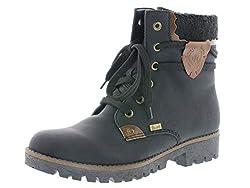 Rieker Damen Winterstiefel 785G5,Frauen Winter-Boots,warm,Tex-Membran,wasserfest,Blockabsatz 3.3cm,schwarz/Mogano/Black, EU 43