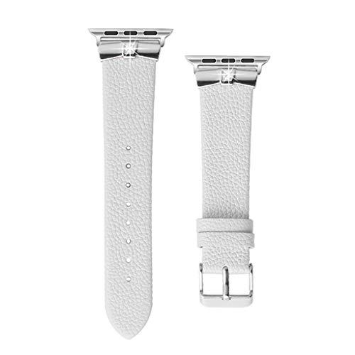 Feitb Elegante Echtlederbänder Lederbänder Slim Ersatzband Edelstahlschnalle Einfache Installation Armband Uhrenarmband Wechselarmband für Apple Watch 42mm / 44mm Serie 4 3 2 1 (Weiß) - Uhrenarmbänder Weiß