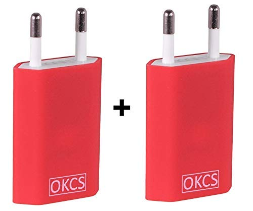OKCS 5W 2X USB Netzteil Netzstecker Adapter 5V / 1A für Smartphones, Tablets, eBook Reader kompatibel mit iPhone, Galaxy, P10, P20, Xperia etc. in Rot Usb Power Plug