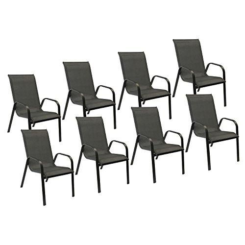 Happy Garden Lot de 8 chaises Marbella en textilène Gris - Aluminium Noir