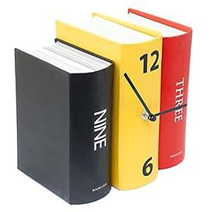 Buchuhr Uhr analoge Tischuhr im Buch-Papier-Design bunt