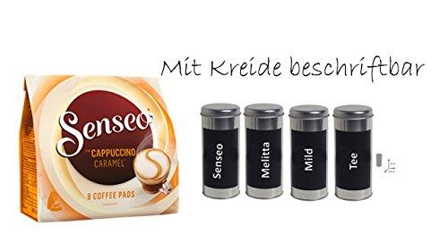 Geschenkset Muttertag Senseo Cappuccino Caramel + Kaffeepaddose 18 Pads - beschriftbar mit Kreide...