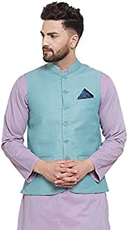 NEUDIS by Dhrohar Textured Cotton Nehru Jacket/Waistcoat For Men - Teal