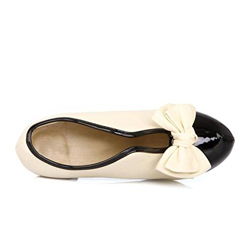 Lemon&T Spring Unique Beige Patent Leather Round-toe Women Rubber Sole 9.5CM haut Chunky Heels bowknot Chaussures Beige