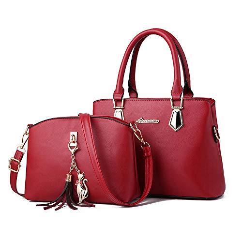 LTTGG Damenhandtaschen neue Mutter Tasche Damenhandtaschen Sandwich Damen Pu @ Rotwein Sandwich-tassen