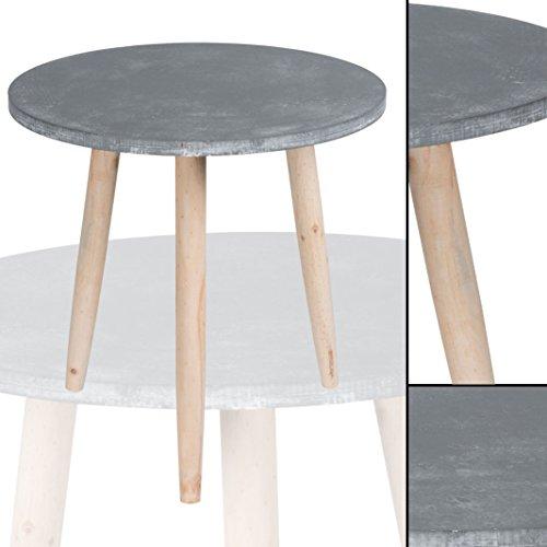 Beistelltisch 007 GRAU Betonoptik rund massiv Pinienholz Abstelltisch Nachttisch Couchtisch Tisch