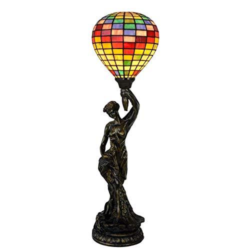 Tiffany-Artschreibtischlampe/Leselampe, 7 Zoll-Freiheits-Göttin-Heißluft-Ballon-Dekorationstischleuchte, Personifizierte Schlafgemach-Nachttischlampe, Wohnzimmer-Licht, BOSS LV
