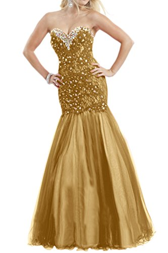 Gorgeous Bride Elegant Lang Herz-Ausschnit Meerjungfrau Spitze Tuell Abendkleid Festkleid Ballkleid Golden