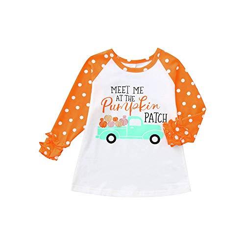 Halloween Kostüm Mädchen,Covermason Babykleidung, Baby Mädchen Weich Lange Ärmel Punkt Kleinkind Kinder Oberteile T-Shirt Bluse Kleider (100, Orange)