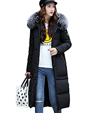 Yiiquan Donna Lungo Giubbino con Cappuccio di Pelliccia Faux Cerniera Imbottito Invernale Calda Retro Giacca Cappotto