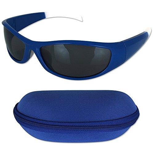 TW24 Sonnenbrille - Sportbrille - Schwimmbrille - Sonnenbrille mit Etui mit Farbauswahl (Blau)