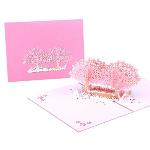 Qiuxiaoaa 3D Greeting Card, Cherry Blossom Greeting Card Handmade Birthday Wedding Invitation 3D Pop Up Card,