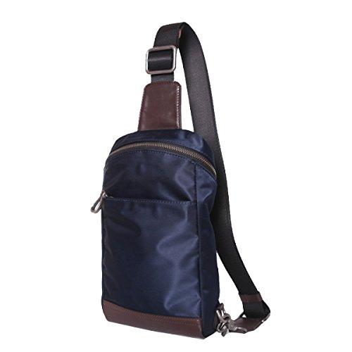 Yy.f Mode-Taschen Lederbrustbeutel Mannschulterkurierbeutel Leder Lässig Nylontasche Eine Kleine Brusttasche Gezeiten Studenten Blue