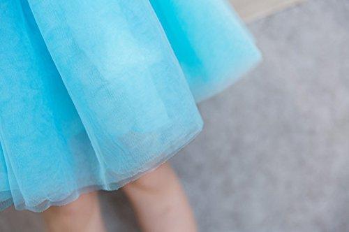 Décontractée Famille Vêtements Famille équipée Manche Courte Dentelle Princesse Robe Mère Fille Robe Bleu clair