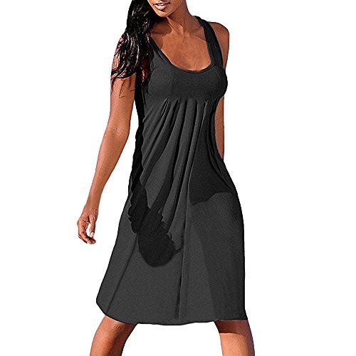 SANFASHION Damen Sommer Ärmellos Kleider Einfaches Gefaltetes Beiläufiges Minikleid Strand Sommerkleider