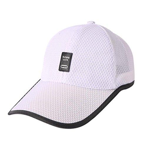 UFACE Sommer-Art-Art Breathable Sport-Baseballmütze Baseball Sonnenblende Cap Snapback Hip-Hop-Hut Unisex Cap (Weiß) (Harley-damen-hut)