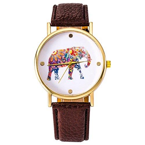 sanwood-women-students-elephant-pattern-watch-brown