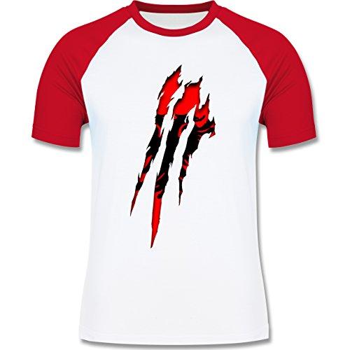 Länder - Albanien Krallenspuren - zweifarbiges Baseballshirt für Männer Weiß/Rot