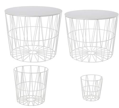 4-er Set Design-Drahtkorb, davon 2 Körbe mit Deckel | Bestelltisch | Wohnzimmer-Tisch | Aufbewahrungskorb | Couchtisch (Weiß)