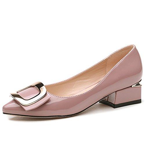 scarpe a punta in vernice piazza in primavera ed estate/Basso fibbia laterale ed eleganti scarpe Joker poco profonde a fondo piatto B