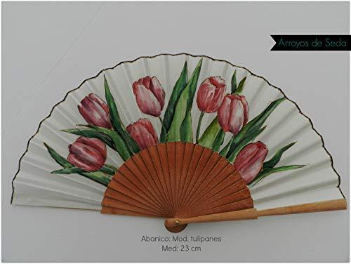 Abanico español/Abanico pintado a mano/Abanico tulipanes/Abanico artesanal/Abanico de madera/Abanico pintado por una...