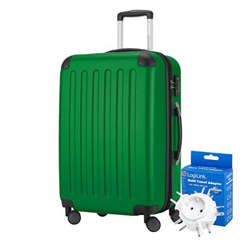 Hauptstadtkoffer - Spree Hartschalen-Koffer Koffer Trolley Rollkoffer Reisekoffer Erweiterbar, 4 Rollen, TSA, 65 cm, 74 Liter, Grün +Reiseadapter