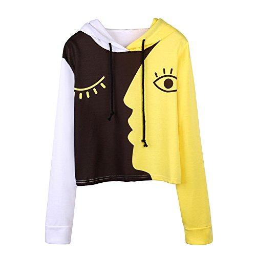 Patchwork Bluse Pullover Tops Damen MYMYG Mode Herbst Übergröße Frauen Kapuzenpullover Sweatshirt mit Kapuze Langarm Crop(C3-Gelb,EU:44/CN-3XL) - Vorne Leder Teddy