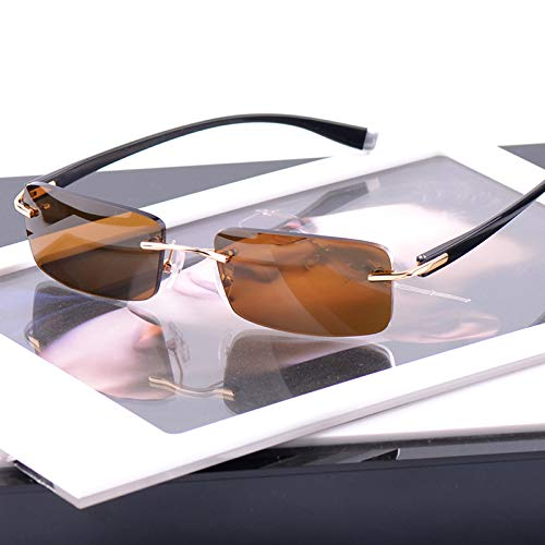 LKVNHP 145Mm Randlose Herren Polarisierte Sonnenbrille Mann Sonnenbrille Für Fahren Anti Reflection Fashion Breites Gesicht Uv400Braun