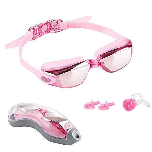 Likey Schwimmbrille,Schwimmbrille mit UV-Schutz und Anti-Fog Beschichtung Ohrstöpsel & Nasenklammern mitgeliefert, für Männer Frauen (Pink)