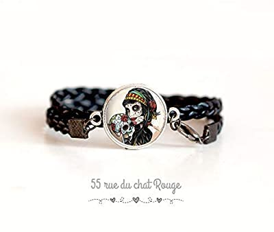 Bracelet double tresse noir, Cabochon la muerte, tête de mort, gothique, Mexique