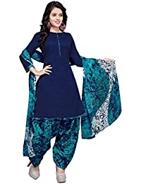 Rajnandini Women's Cotton Patiala Dress Material(JOPLVSM3852_Blue_Free Size)