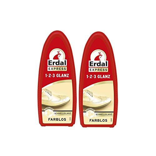 Erdal 2x Erdal Express 1-2-3 Glanz Farblos - Schwamm - mit Bienenwachs