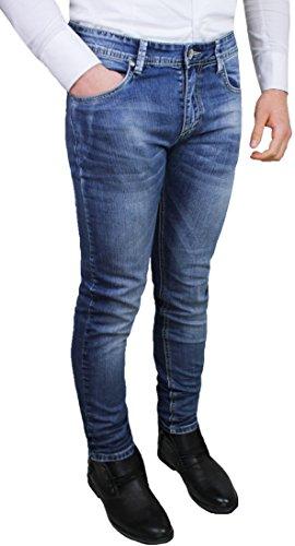 Jeans pantaloni uomo casual blu denim slim fit aderenti cotone stretch (46)