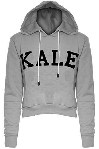 Damen Kale Bedruckt Abgeschnitten Kapuze Kapuzenpullis Fleece Damen Freizeit Winter Voll Langärmlig Oberteile Sweatshirt Grau