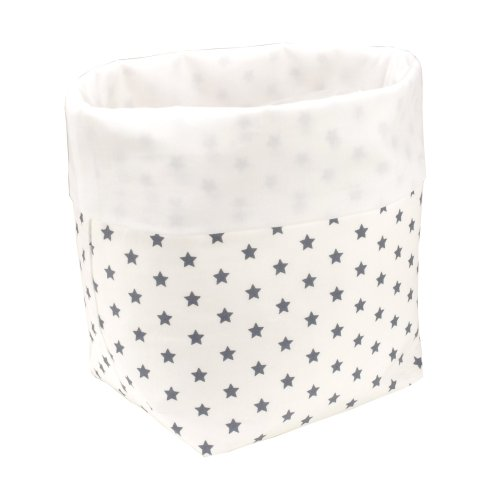 Preisvergleich Produktbild Sugarapple Utensilo Stoff Aufbewahrungsbox aus Baumwolle 19 x 13,5 x 13,5 cm, Stoffbox fürs Bad, als Wickeltisch Organizer oder Windelspender Korb, Sterne Grau