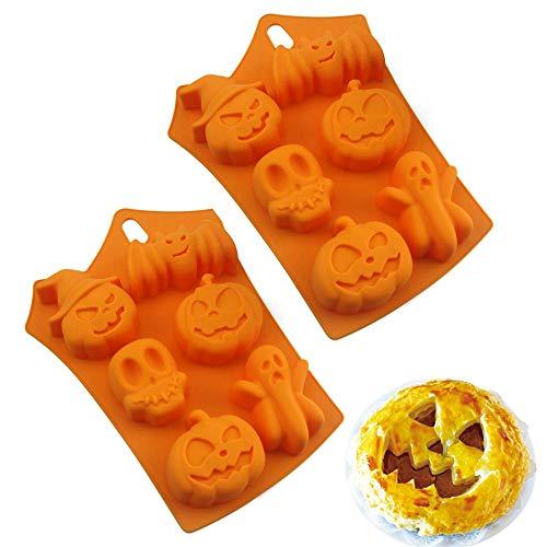 HPiano 2 Stück Halloween Kürbis Silikon Backform Schokoladenform Cupcake Pudding, Eiswürfel und Gelee,Keks Molds für Eindrucksvolle Kreationen, Hochwertige Silikon-Kuchenform