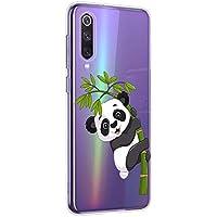 Oihxse Cristal Compatible con Xiaomi Mi CC9/A3 Lite/9 Lite Funda Ultra-Delgado Silicona TPU Suave Protector Estuche Creativa Patrón Panda Protector Anti-Choque Carcasa Cover(Panda A3)