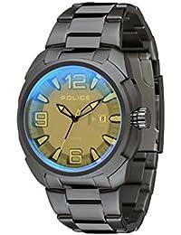 Police 13836JSU/61M - Reloj de cuarzo para hombre con esfera analógica de color negro y correa de acero inoxidable plateada