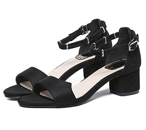 Bello Sandali Donna con Tacco Accocinturino alla Caviglia Scarpe da Donna Comode Scarpe col Tacco Elegante e Raffinato per Spiaggia di Sabbia Festa Nozze Cocktail Partito Nero