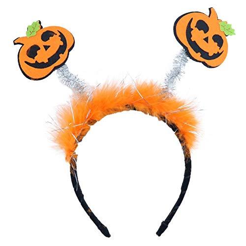 Monbedos Mädchen Halloween Geister Festival Halloween Kürbis Fledermaus Horn Feder Stirnband Kopfschmuck lustig gruselig Haarreifen Haarschmuck Set für Party Kostüm Supplies Orange - Lustiges Party Kostüm