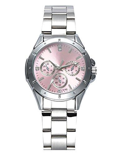 OOFIT Damen armbanduhr silber Analog Quarz mit Edelstahl Armbanduhr, Rosa Zifferblatt